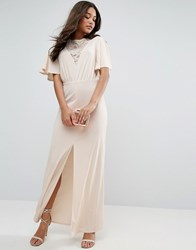 Asos Kimono Sleeve With Lace Insert Maxi Dress Nude Pink