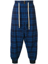 Vivienne Westwood Tartan Drop Crotch Trousers Blue