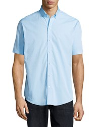 Zachary Prell Dot Print Woven Short Sleeve Shirt Blue