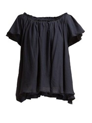 Loup Charmant Ruffle Trimmed Cotton Top Navy