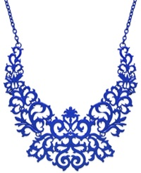 Bar Iii Lace Design Bib Necklace Blue