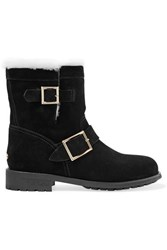 Jimmy Choo Youth Shearling Lined Suede Ankle Boots Black