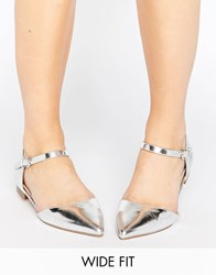 Asos Lilybet Wide Fit Two Part Ballet Flats Silver
