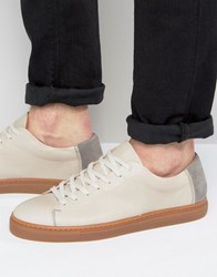 Selected Homme David Leather Trainers Sand Beige