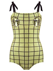 Adriana Degreas Plaid Swimsuit Green
