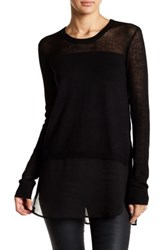 Bcbgeneration Knit And Woven Shirttail Sweater Black