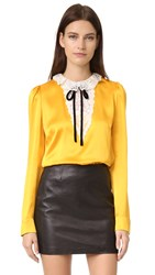 The Kooples Silk And Lace Tie Neck Blouse Yellow