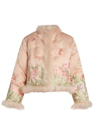 Alexander Mcqueen Embroidered Feather Trimmed Silk Jacket Light Pink