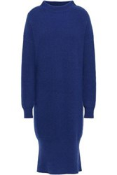 N.Peal Woman Ribbed Cashmere Turtleneck Dress Royal Blue