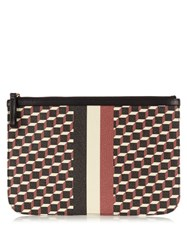 Pierre Hardy Cube Print Coated Canvas Pouch Red Multi