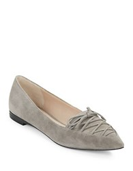 French Connection Gesine Lace Up Suede Flats Volcano Grey