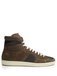 Saint Laurent Court Classic High Top Suede Trainers Grey Multi