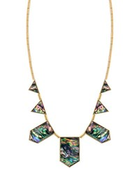 House Of Harlow Abalone Geometric Collar Necklace Abalone Gold