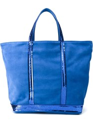 Vanessa Bruno Sequin Trim Shopping Tote Blue