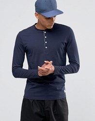 Selected Homme Grandad Long Sleeve Top Navy