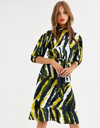 Closet London High Neck Skater Dress In Abstract Print Multi