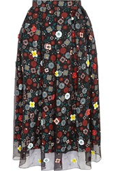 Holly Fulton Embellished Floral Print Silk Crepe De Chine Skirt