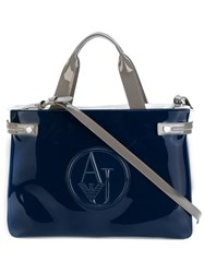 Armani Jeans Embossed Logo Tote Bag Women Polyester Pvc One Size Blue