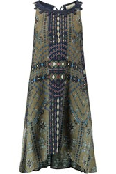 Sea Maya Printed Cotton And Silk Blend Crepon Midi Dress Army Green