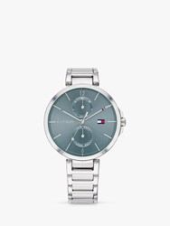 Tommy Hilfiger 'S Angela Day Date Bracelet Strap Watch Silver Blue 1782126