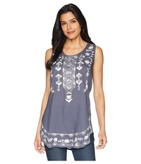 Scully Tally Embroidered Shirt Tail Tank Wedgewood Blue Clothing