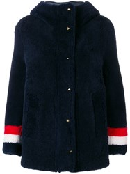 Thom Browne Reversible Hooded Shearling Parka Blue