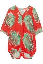 Paul And Joe Printed Silk Playsuit Tomato Red