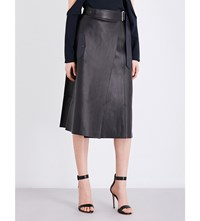 Dion Lee A Line High Rise Leather Skirt Black Navy