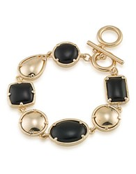1St And Gorgeous Cabochon Flexible Stone Bracelet Black And Gold
