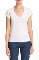 Re Done Women's X Hanes '1960S Slim' V Neck Tee Vintage White