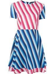 House Of Holland Printed Flared Dress Pink And Purple