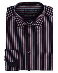 Double Two Men's Satin Stripe Formal Shirt Red