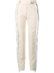 Paco Rabanne Fringed Seersucker Trousers Nude And Neutrals