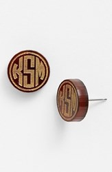 Women's Moon And Lola 'Chelsea' Small Personalized Monogram Stud Earrings Tortoise Gold