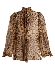 Dolce And Gabbana Leopard Print Tie Neck Silk Chiffon Top