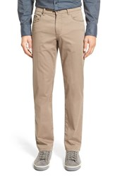 Men's Brax Flat Front Stretch Cotton Trousers Taupe