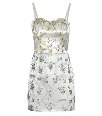Alexander Mcqueen Silk Blend Jacquard Mini Dress Silver