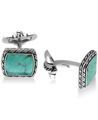 Effy Men's Manufactured Turquoise 12 1 2 X 9 1 2Mm Cuff Links In Sterling Silver And Black Lacquer Blue