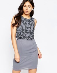 Maya Dress With Embellished Overlay And Split Back Grey Beige