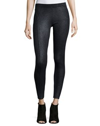Three Dots Shimmer Coated Ponte Leggings Gunmetal Coated