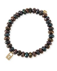8Mm Faceted Brown Mystic Pyrite Beaded Bracelet W 14K Gold Padlock Charm Yellow Gold Sydney Evan