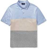 Dunhill Slim Fit Silk And Cotton Blend Polo Shirt Blue