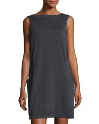 Max Studio Sleeveless Terry Shift Dress Charcoal N