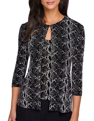Alex Evenings Patterned Cardigan And Tank Black White