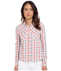 Mavi Jeans Plaid Button Down Shirt Desert Sand Check Women's Long Sleeve Button Up Pink