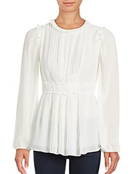Max Studio Pleated Bell Sleeve Blouse Ivory