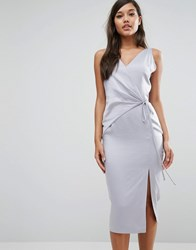 Lavish Alice Satin Wrap Tie Midi Dress Dusty Blue
