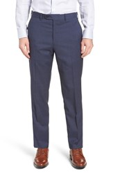 John W. Nordstrom Torino Traditional Fit Flat Front Houndstooth Trousers Blue