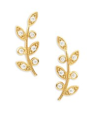 Tai Stone Accented Sterling Silver Leaf Stud Earrings Gold