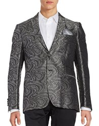 Tallia Orange Swirl Printed Dinner Jacket Black White